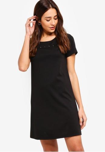 ZALORA black Short Sleeves Dress with Eyelets Detail 95CEEAA79DCBAEGS_1