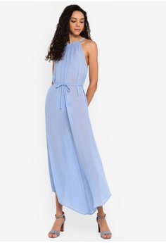 61cfdc8d84c9 Miss Selfridge blue Sheer 90s Maxi Dress 99CE7AA2893F9DGS_1