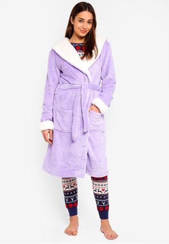 Chelsea Peers purple Purple Dressing Robe With White Lining 3572AAAB9DDA06GS_1
