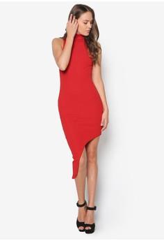 High Neck Bandage Asymmetric Hem Dress