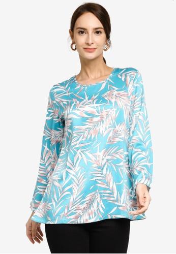 Aqeela Muslimah Wear blue Floral Blouse D8703AA85FBF52GS_1