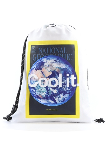 National Geographic white National Geographic Earth Drawstring Bag White CA442AC8C14BB9GS_1