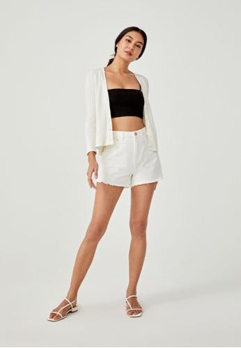 Love, Bonito white Christi Textured Knit Cardigan 0C846AA5D3A284GS_1