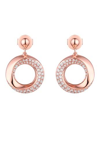 Vedantti 粉紅色 Vedantti 18K 漩渦雙排鑽-玫瑰金耳環 A5055AC88E8679GS_1
