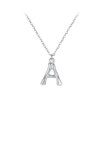 Glamorousky silver Fashion Simple English Alphabet A 316L Stainless Steel Pendant with Necklace 339CCACCA3AB14GS_1