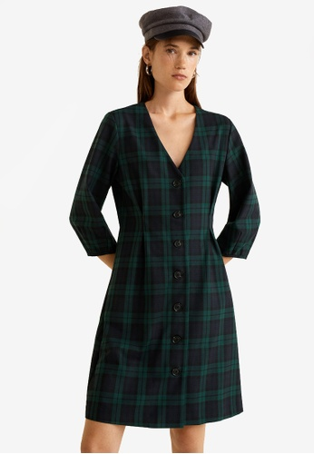 Mango blue and navy Buttoned Check Dress 4A884AA6379961GS_1