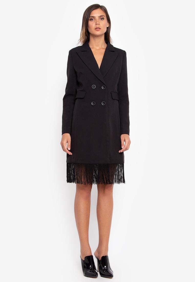 Blazer Dress Fringed black Fringed Dress NOBASIC qwPvxg64
