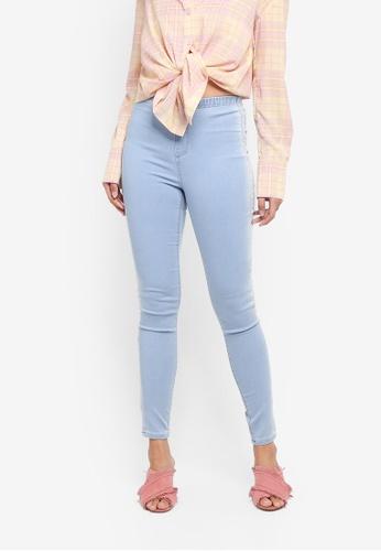 TOPSHOP blue Side Stripe Denim Leggings 7BA1AAA66B76F7GS_1