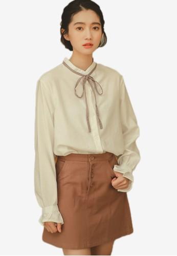 Shopsfashion white Tie A Bow Blouse 481B7AAE34B383GS_1