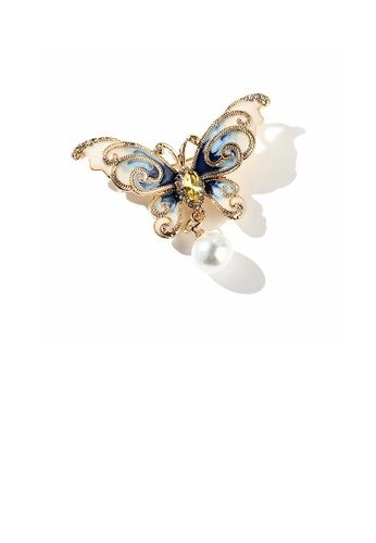 Glamorousky yellow Fashion and Elegant Plated Gold Enamel Blue Butterfly Imitation Pearl Brooch with Cubic Zirconia C8BC5ACF186D3EGS_1