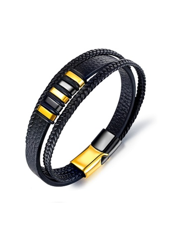 ADORA gold Stainless Steel Leather Bracelet 2EAADAC0BEFB75GS_1