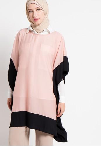 Aira Muslim Butik black and pink Faida Blouse AI892AA59PHSID_1