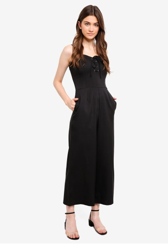 Something Borrowed black Laced Up Cami Cropped Jumpsuit 91079AAF02067FGS_1