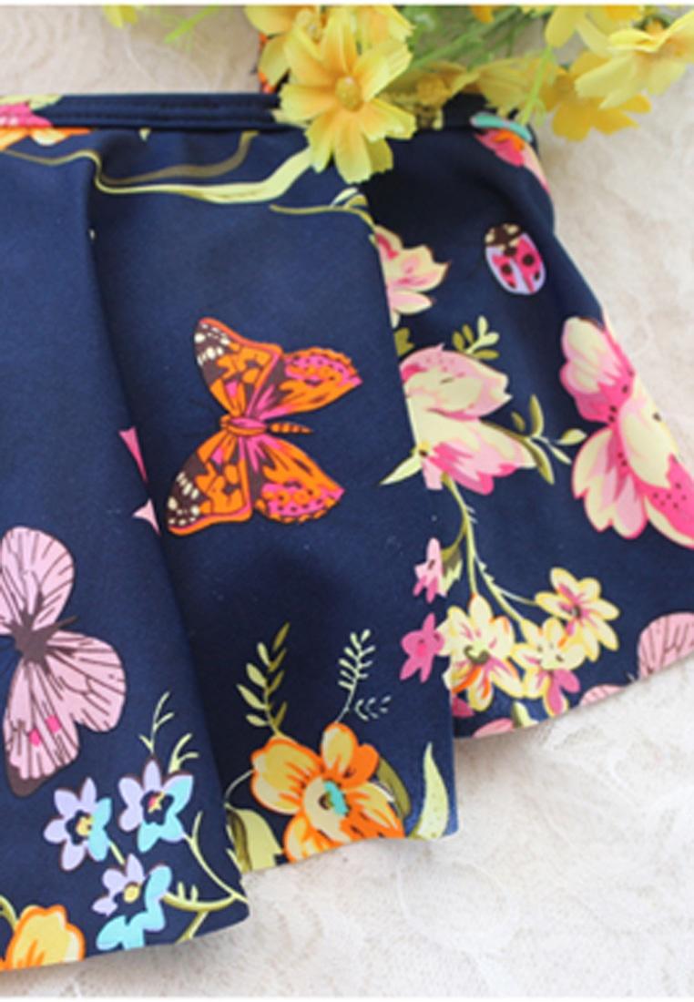Pcs Bikini Swimsuits Print 2 Halo Navy Set Floral qOBwYHC