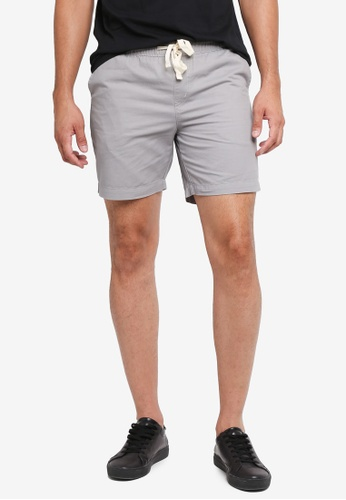 Penshoppe grey Tapered Fit Drawstring Chino Shorts 97F25AA482FF4DGS_1