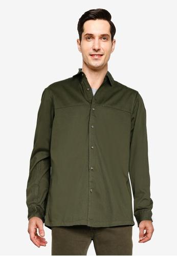 Topman green Khaki Twill Slim Shirt 7DBDBAACBE0E24GS_1