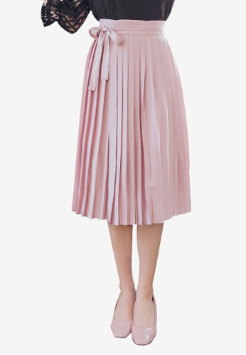 YOCO pink Ribbon Detailed Pleated Skirt 827A5AA87A2514GS_1