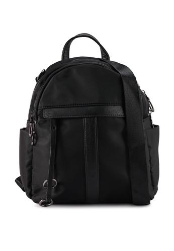 NUVEAU black PU-Trimmed Nylon 2-Way Backpack 41297ACAE6EA76GS_1