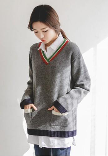 對比線條羊毛針織上衣,esprit台灣網頁 服飾, 毛衣& 針織外套