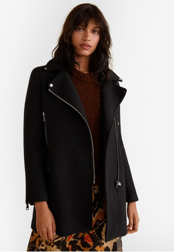 Mango black Zippers Detail Coat F0643AA235A010GS_1