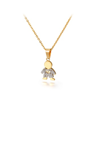 Glamorousky silver Simple and Cute Two-tone Boy 316L Stainless Steel Pendant with Necklace 6F551ACACE9413GS_1