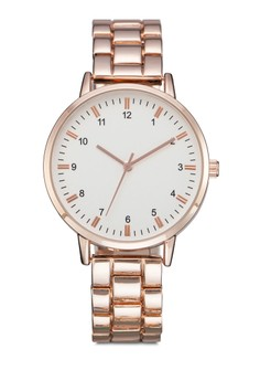 Double Tab Round Face Metal Strap Watch
