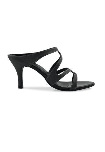SHINE black Slip On Strapy Sandals SH554SH22DKZSG_1