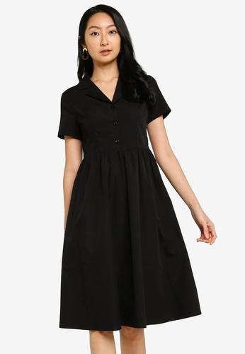ZALORA BASICS black Revere Collar Fit & Flare Shirt Dress 035D3AA4543439GS_1