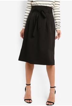edb21801ee9475 ZALORA black Paperbag Skirt With Self Tie 4005FAAF7FACBCGS_1