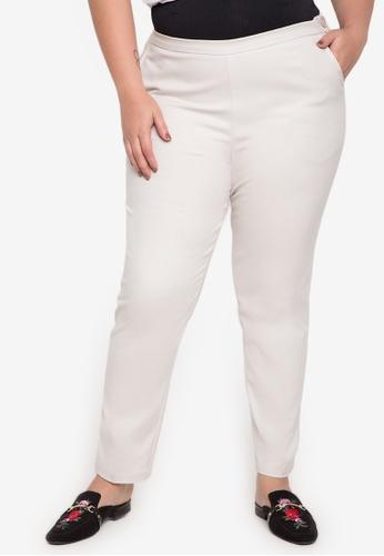 Curvy beige Plus Size Londyn Straight Cut Jeans CU774AA0JATKPH_1