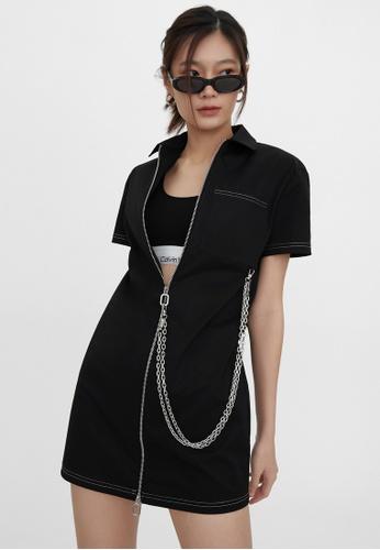 Pomelo black Chain Front Zip Dress - Black BA0BDAAB5AD4A7GS_1