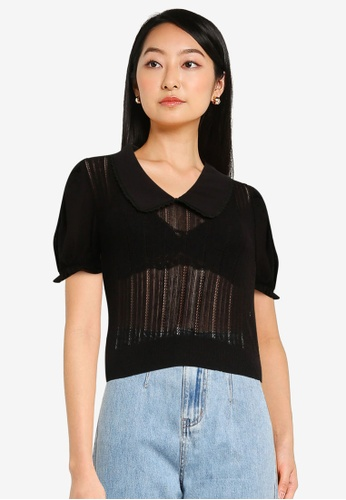 Urban Revivo black Lapel Knitted Top 5CE5EAA328B9C0GS_1
