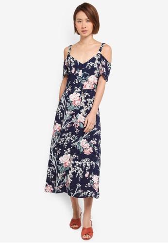WAREHOUSE blue Toile De Jouy Midi Dress 23339AA64F1873GS_1