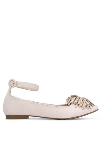 Something Borrowed beige Pom Pom Ankle Flats F96DCSH0EB8A79GS_1