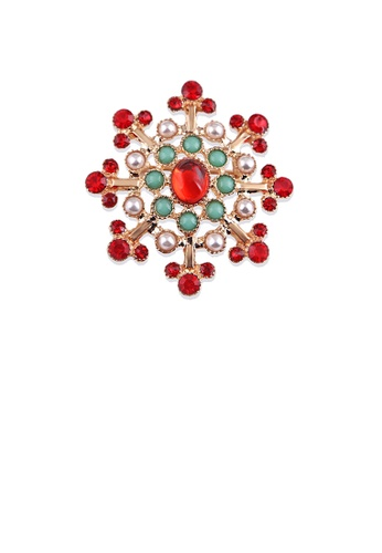Glamorousky silver Fashion and Elegant Plated Gold Geometric Flower Imitation Pearl Brooch with Cubic Zirconia 8DC95ACAEF93C4GS_1