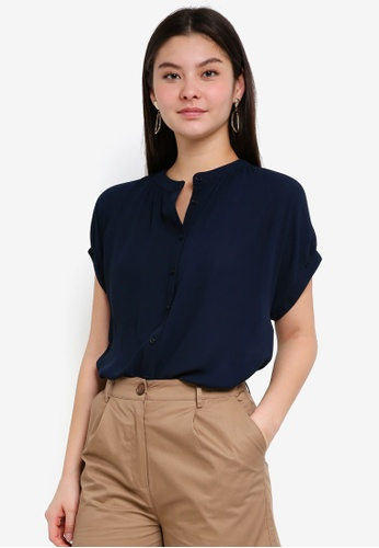 WAREHOUSE navy Ruched Detail Blouse 1C79BAA6EC0B23GS_1