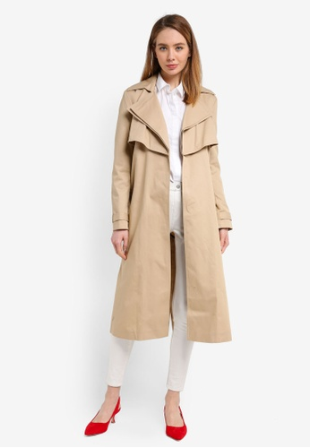 River Island brown Olivia Oversized Double Collar Trench B0DF7AA7E9EBB2GS_1