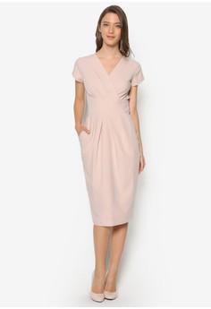 Cross Over Tie Back Tulip Dress
