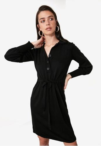 Trendyol black Tie Waist Button Detail Knit Dress 8BD33AA14D1791GS_1