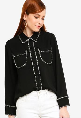 Zalia black Tweed Trim Blouse 08D96AA0F5BBA2GS_1