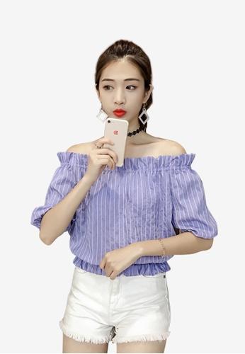 hk-ehunter blue Women Off Shoulder Stripe Blouse Top BD6CAAAAFDFEF1GS_1