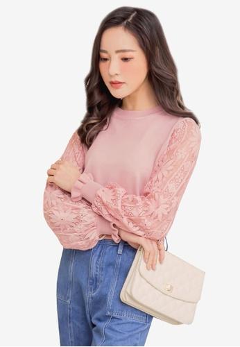 YOCO pink Lace Sleeve Top 5157BAA80028ACGS_1