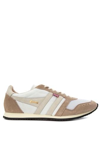 Gola white and beige Track III Sneakers GO513SH21TRUPH_1