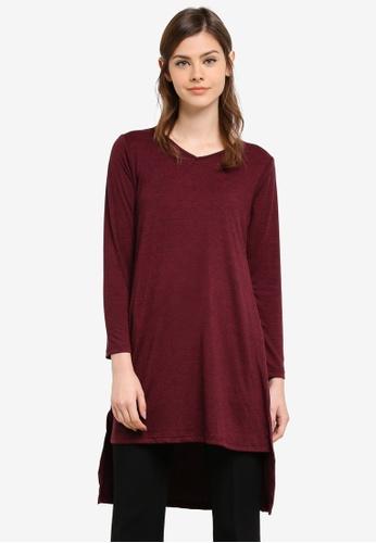 Aqeela Muslimah Wear red Side Slit Fishtail Top AQ371AA0S4WWMY_1