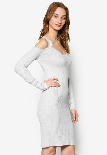 挖肩長袖羅紋貼身連身裙, 服飾尖沙咀 esprit, 服飾