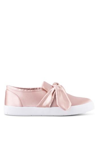 Velvet pink Bow Detail Slip ons 18C16SHFAC6A69GS_1