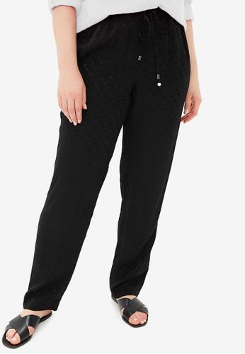 85da807118e Violeta by MANGO black Plus Size Polka-Dot Textured Trousers  6F125AA2C055EBGS 1