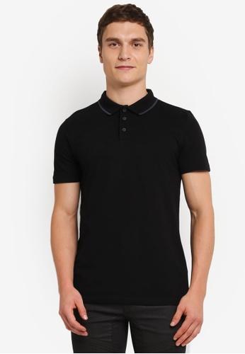 Topman black Black Muscle Fit Polo TO413AA0SJKZMY_1
