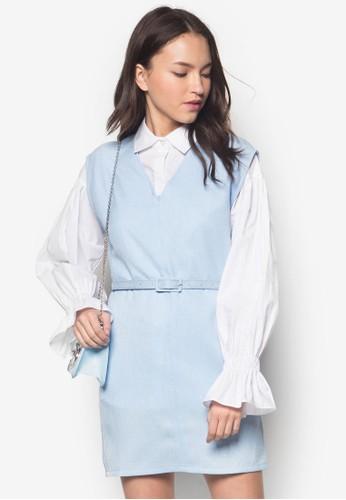 兩件式撞色拼接連zalora退貨身裙, 服飾, 洋裝