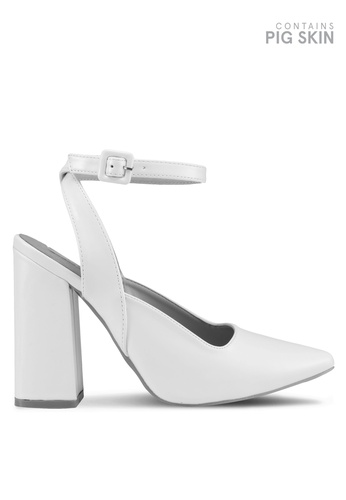 LOST INK white Grace Flared Ankle Strap Court Heels 04DE4SH7E4A454GS_1